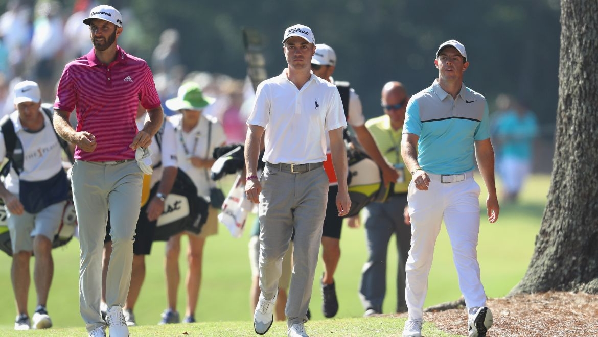 Dustin Johnson, Justin Thomas a Rory McIlroy